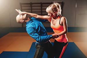Images Men Two To beat Fight Bald Blonde girl Hands Singlet Sport Girls