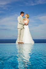 Picture Men Water Two Marriage Brides Grooms Blonde girl Dress Girls