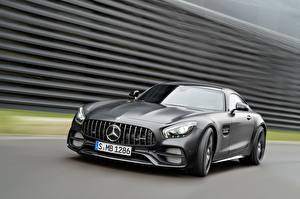 Hintergrundbilder Mercedes-Benz Fahrendes Grau AMG C190 GT-Class