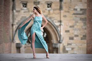 Fotos & Bilder Pose Kleid Bein Bokeh Morgane Mädchens