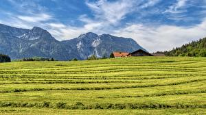 Wallpaper Mountain Fields Germany Bavaria Chiemgau, Inzell Nature
