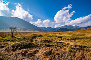 Images Mountains Grasslands Sky Valley Clouds Grass Gangteng Valley, Bhutan Nature