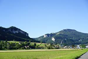 Hintergrundbilder Gebirge Schweiz Felder Wälder Dorf Oensingen, Solothurn Städte
