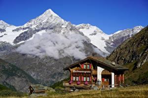 Hintergrundbilder Gebirge Schweiz Gebäude Alpen Wolke Schnee Weisshorn, Valais Natur