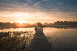 Hintergrundbilder Niederlande Morgen Schiffsanleger Sonnenaufgänge und Sonnenuntergänge Kanal Leusden, Utrecht, De Schammer Natur