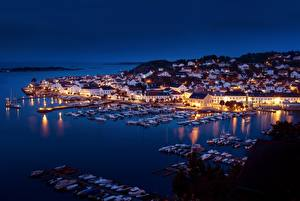 Picture Norway Berth Boats Yacht Houses Night Bay  Cities