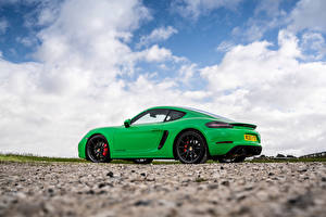 Wallpapers Porsche Green Metallic Side Clouds Coupe 718 Cayman GTS 4.0, 982C, UK-spec, 2020 automobile