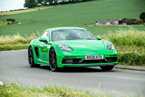 Wallpaper Porsche Roads Moving Green Metallic Coupe 718 Cayman GTS 4.0, 982C, UK-spec, 2020 automobile
