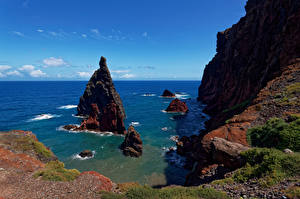 Bilder Portugal Ozean Himmel Felsen Madeira