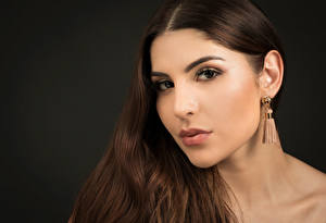 Pictures Brown haired Makeup Glance Black background Hair Earrings Priscila