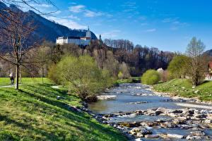 Fotos Fluss Steine Burg Deutschland Gras Bayern Castle Hohenaschau, river Prin