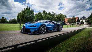 Картинка Дороги BUGATTI Синяя Металлик Vision Gran Turismo, Concept 2020 авто