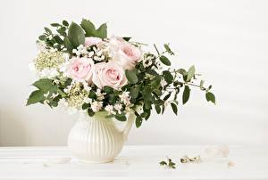 Image Roses Bouquet Branches Vase Foliage flower