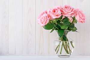 Pictures Roses Bouquets Pink color Vase Template greeting card Flowers