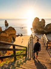 Fotos & Bilder Meer Sonnenaufgänge und Sonnenuntergänge Portugal Stiege Felsen Strand Camilo Beach Natur