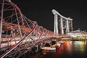 Bilder Singapur Flusse Brücken Nacht Marina Bay Sands Städte