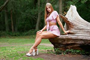 Fotos Sitzend Rock Bein Starren Sophie Mädchens