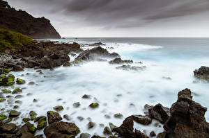 Image Spain Coast Stone Sea Crag Canary Islands, Tenerife Nature
