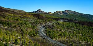 Bakgrunnsbilder Spania Fjell Vei Trær Ovenfra Teide National Park, Tenerife Natur