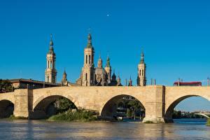 Bilder Spanien Flusse Brücken Kathedrale Zaragoza, river Ebro Städte