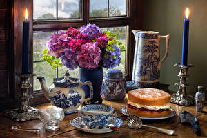 Pictures Still-life Hydrangea Cakes Candles Vase Cup Sugar Food Flowers