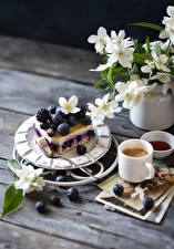 Wallpapers Still-life Little cakes Blueberries Blackberry Coffee Cappuccino Wood planks Branches Mug