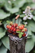 Fotos Erdbeeren Weidenkorb Baumstumpf das Essen