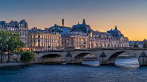 Images Sunrise and sunset River France Bridge Paris Pont du Carrousel Cities