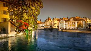 Image Switzerland Building Lake Bridges Lucerne Cities