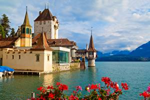 Pictures Switzerland Mountain Castles Lake Towers Clouds Oberhofen Castle, Thunersee Nature