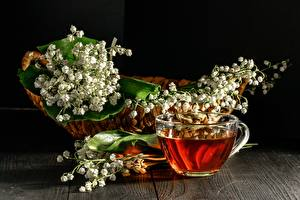 Pictures Tea Lilies of the valley Cup Wicker basket Flowers Food