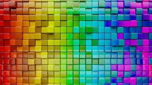 Papel de Parede Desktop Textura Cubo Multicolor