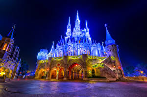 Pictures USA Disneyland Parks Castles California Anaheim Design Night time