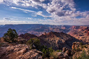 Pictures USA Grand Canyon Park Sky Rock Clouds Canyons Arizona Nature