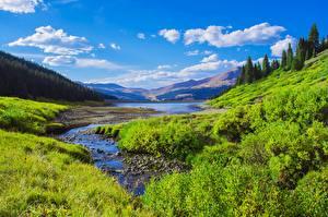 Fotos & Bilder USA See Gebirge Wälder Landschaftsfotografie Himmel Gras Strauch Rocky Mountains, Colorado Natur