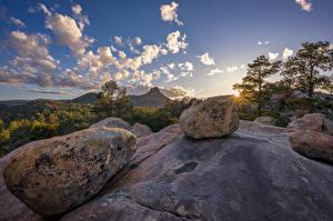 Bilder USA Steine Gebirge Felsen Bäume Wolke Prescott, Arizona Natur