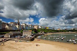 Picture United Kingdom Boats Houses Wales Clouds Tenby, Harbor Cities