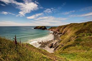 Wallpaper United Kingdom Coast Sea Stones Sky Wales Clouds Nature