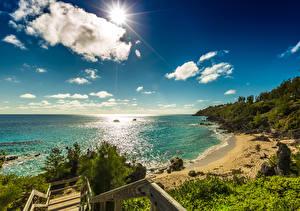 Bilder Vereinigtes Königreich Küste Himmel Ozean Sonne Wolke Bermuda
