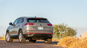 Wallpaper Volkswagen Crossover Gray Metallic Back view Atlas Cross Sport SE, 2020 automobile