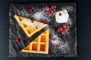 Wallpapers Waffles Berry Powdered sugar Cream Food