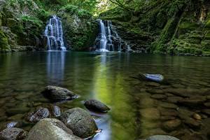 Wallpapers Waterfalls Stones Moss Brook Nature