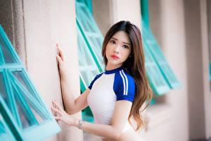 Fotos Asiatisches Bokeh Braunhaarige Hand Starren junge Frauen