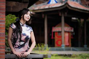 Bilder Asiatisches Bokeh Brünette Blick Hand junge frau