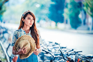 Fotos Asiatische Braunhaarige Der Hut Kleid Blick Bokeh junge Frauen