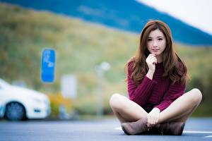 Pictures Asian Padmasana Asphalt Bokeh Sit Brown haired Hands Legs Girls