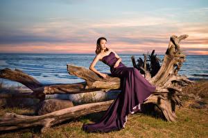 Fotos Asiaten Pose Kleid Starren  junge Frauen