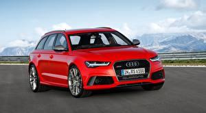 Hintergrundbilder Audi Kombi Rot Metallisch RS6, Avant performance, 2015 Autos
