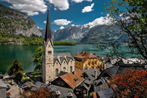 Bilder Österreich Hallstatt Gebirge See Alpen Turm Lake Hallstatt Städte