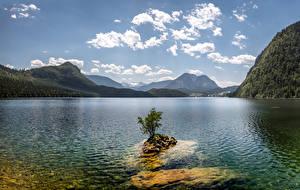 Hintergrundbilder Österreich Gebirge See Himmel Wolke Lake Altaussee, Northwest Styria Natur